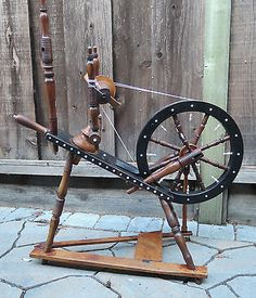 Charming Antique Spinning Wheel with Bone Inlays & Finials