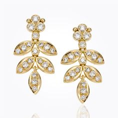 Item 18K Foglia Double Drop Earrings with diamond pavé