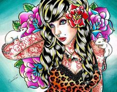 Head Noise Pin Up Girl Portrait by Carissa Rose Canvas Giclee