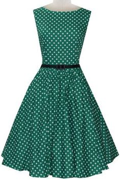 Vintage Women's Sleeveless Polka Dot A-Line Dress