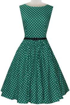 Vintage Women's Sleeveless Polka Dot A-Line Dress