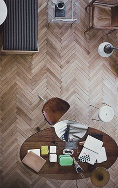 herringbone floor.