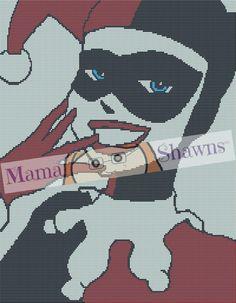 Happy Harley Quinn Inspired Graphghan, Written Pattern, Crochet Pattern, PDF Download, Villian, Anti-Hero, Gotham, Dc Comics, Batman, Joker by MamaShawns on Etsy