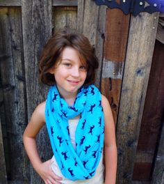 Horses infinity Scarf, Girls Fall Scarf, Turquoise Scarf, by Phatcatpatch on Etsy, $13.49