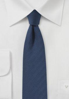Krawatte Gräten marineblau mit Leinen
