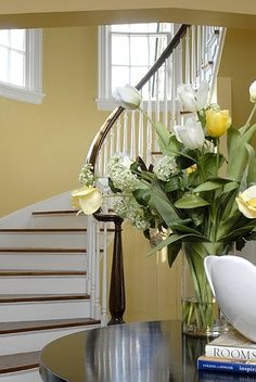 I love our yellow walls, and then Abner sends me yellow roses every week. Isn't that Love?