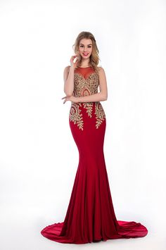 Crystal Ramie Floor Length Lace Beaded Long Red Prom Dress