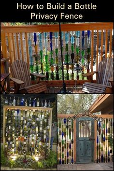 balcony privacy screen Here's a unique way to make use of old bottles - use them when making a privacy screen! Backyard Projects, Outdoor Projects, Garden Projects, Diy Projects, Wine Bottle Fence, Glass Bottle, Espalier, Design Jardin, Diy Fence