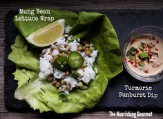 Turmeric Sunburst Dip  with mung bean lettuce wrap