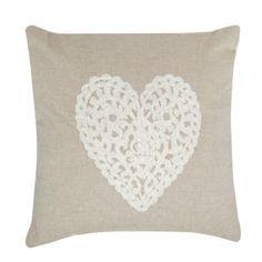 Debenhams Natural embroidered heart cushion- at Debenhams.com