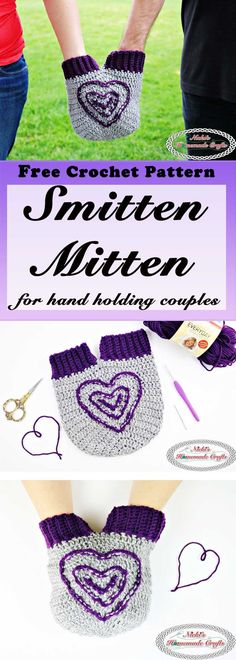 Smitten Mitten for hand holding couples - Free Crochet Pattern by Nicki's Homemade Crafts
