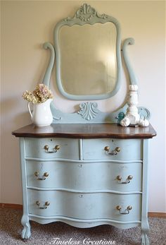 White Distressed Dresser - A Client's Vision Brought to Life - Timeless Creations, LLC Bedroom Furniture Antique Bedroom Furniture, Refurbished Furniture, Repurposed Furniture, Shabby Chic Furniture, Furniture Makeover, Vintage Furniture, Diy Furniture, Furniture Stores, Distressed Bedroom Furniture
