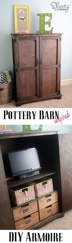 Free Plans and tutorial to make this awesome DIY Pottery Barn Armoire!  LOVE. #DIY #Furniture Shanty-2-Chic.com