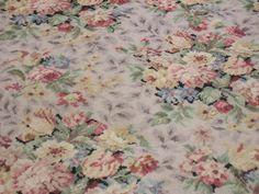 Shabby chic barkcloth era roses rug