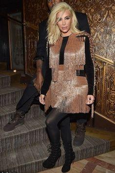 Kim Kardashian wearing Alaia Cutout Suede Boots and Balmain Pre-Fall 2015 Fringed Dress