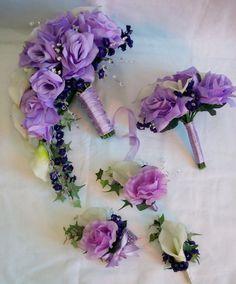 Calla lilys and Lavender Roses  Wedding Cascading Bouquet  ( 9 pcs set )