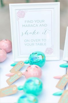 maraca escort cards @weddingchicks - guests can also use for exit to duval st