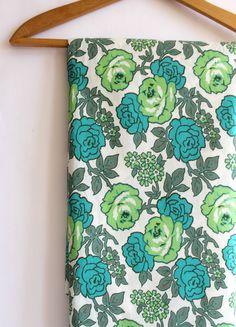 Vintage Fabric. Aqua Blue Lime Green Rose Blooms. 2 Yards. $22.00, via Etsy.