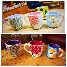 Color Me Mine mugs before & after