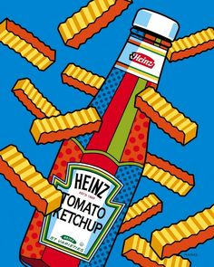 """""""Flying Fries"""" by Ron Magnes, Pittsburgh // Artwork of French Fries flying around a Ketchup bottle // Imagekind.com -- Buy stunning, museum-quality fine art prints, framed prints, and canvas prints directly from independent working artists and photographers."""