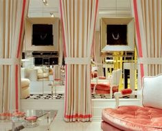 i love floor to ceiling curtains and with mirrors... ohhhh my!