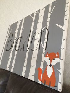Woodland fox nursery name sign painted canvas by SimplicityPaints