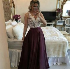 Purple Lace Spaghetti Straps Taffeta Chic Long Prom Dress Graduation Ball Gown #promgown #promdress #prom2018 #dressforprom #formalwear #formaldress #formals #lacedress #gorgeousdress #beauty #makeup #bigday #purpledress #grad #graduation #chic