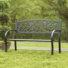 A durable, cast metal outdoor garden bench from Wayfair...