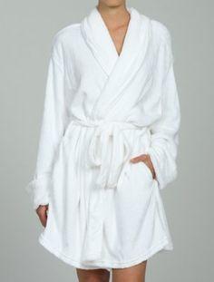 Fluffy white women's bath robe