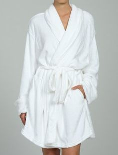 Fluffy white women's bath robe