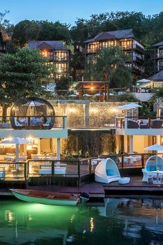 At Capella Marigot Bay, lodges blend into the verdant hillside. Capella Marigot Bay Resort and Marina St. Cruise Excursions, Cruise Destinations, Holiday Destinations, Saint Lucia, H Design, Boutique Hotels, Destin Beach, Resort Style, Future Travel