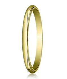 Exquisitely wrought milgrain accents make for a subtly ornate men's designer gold wedding ring. This gold wedding band has a traditional polished dome profile trimmed with beaded edges. The slim 2mm traditional fit band pairs the rich look of 10K yellow gold with a budget-friendly price. Web Page:  http://www.justmensrings.com/Designer-2-mm-Traditional-Fit-Milgrain-10K-Yellow-Gold-Wedding-Band--JB1100_p_119.html