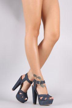 Delicious Denim Woven Ankle Strap Platform Chunky Heel