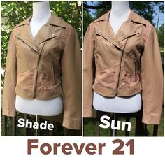 SALE 🎉 HP 🎉Forever 21 Faux Leather Jacket ! NWOT 💥 Beautiful never worn ! 2 front zip pockets ! Zips up in front ! The 2 lower lapels snap in place ! About 20 inch length ! Lining 100% polyester same color as jacket ! Wash cold line dry ! Do NOT dry clean ! Sleeves snap at cuff ! It's a perforated texture with parts that feel like suede, but is NOT ! She'll is PU which is a man made synthetic leather, can look and feel like leather BUT is not ! Backing is 100% viscose ! A great looking…