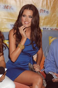 Khloe Kardashian- I love the blue dress. Khloe is by far the prettiest Kardashian, I mean she's not too short or tall and has a killer figure!