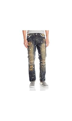 34.99$ - Southpole Men s Denim Pants Long Slim Fit with 3d Piping and Fray Details- Dark Sand Tint- 38x32 from Southpole- Long denim pants with destructed ripped and repair with 3-d piping and fray details