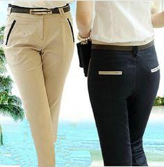 xs- xxl casual calças ol novo 2014 primavera mulheres verão calças compridas plus size mulheres calças harém slim calças formais ol 16.37