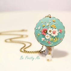Elegant Polymer Clay pendant necklace. Gift for her