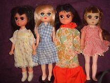 ♥ 4 SUSIE SAD EYES pre BLYTHE doll Kenner 1960s blonde brown dark original look