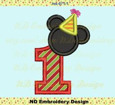 Mickey Mouse Silhouette  st Birthday Applique