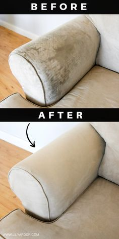 How To Deep Clean Your Sofa Or Couch. Can be used on plain Fabric as well as Microfiber. Oxi Clean to the rescue! simple home diy How To Deep Clean Your Couch / Sofa With Oxi Clean Household Cleaning Tips, House Cleaning Tips, Diy Cleaning Products, Cleaning Hacks, Cleaning Schedules, Car Cleaning, Deep Cleaning Tips, Cleaning Recipes, Spring Cleaning