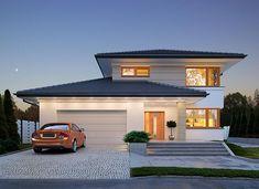 Karat 2 - zdjęcie 1 Modern Family House, Modern Bungalow House, Family House Plans, Bedroom House Plans, Modern House Plans, Modern House Design, Home Building Design, Home Design Plans, Building A House