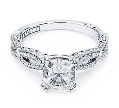 18K White Gold Ring with intricate strings of intertwining diamonds and a delicate lace detail for an heirloom feel (HT 2528 PR 5)