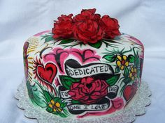 Ed Hardy Cake. All hand painted, fondant roses.