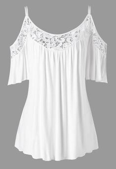 Plus Size Cold Shoulder Lace Insert Blouse - White Xl Mobile Plus Size Blouses, Plus Size Tops, Plus Size Dresses, Plus Size Outfits, Lace Dresses, Women's Blouses, Blouse Styles, Blouse Designs, Skirt Fashion