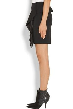 Givenchy - Ruffled Silk Satin-paneled Grain De Poudre Wool Mini Skirt - Black - FR34