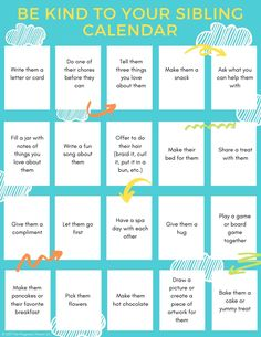 This fun activity will encourage siblings to get along. Print the sibling acts of kindness calendar to help spread the love & stop the sibling fighting. Parenting Workshop, Parenting Books, Kids And Parenting, Parenting Ideas, Therapy Activities, Activities For Kids, Therapy Worksheets, Sibling Fighting, Kindness Challenge