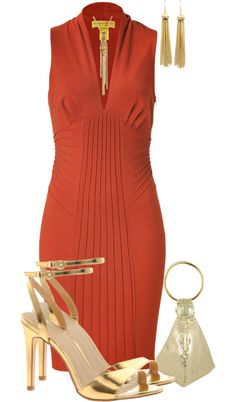 """""""Copper Dress"""" by sincerelytru ❤ liked on Polyvore"""