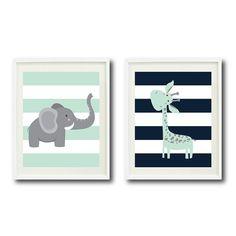 Safari Nursery Art Print Set of Two 8x10-Giraffe, Elephant-Navy, Mint, Grey White OR Choose Colors-Chevron Stripes-Zoo Animals