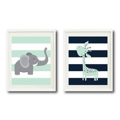 Safari Nursery Art Print Set of Two 8x10-Giraffe, Elephant-Navy, Mint, Grey White OR Choose Colors-Chevron Stripes-Zoo Animals